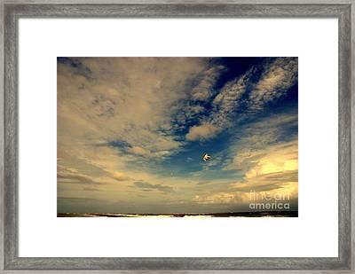 Kite At Folly Beach Near Charleston Sc Framed Print by Susanne Van Hulst