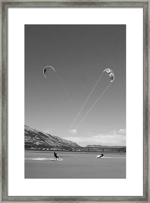 Kiteboarding Symmetry Framed Print by Skip Brown