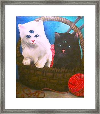 Kittens In A Basket Framed Print by Katie Victoria Tolley