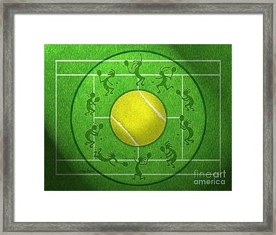 Kokopelli Tennis Grass Framed Print by Chris Rhynas