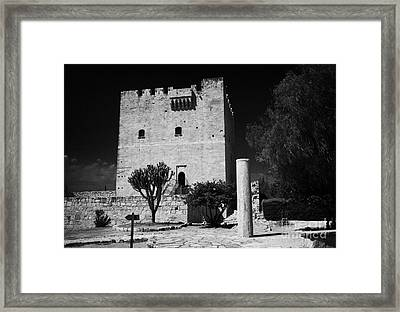 Kolossi Castle And Pillar Republic Of Cyprus Framed Print by Joe Fox