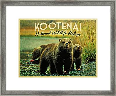 Kootenai Wildlife Refuge Bears Framed Print by Flo Karp