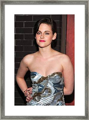 Kristen Stewart Wearing An Emilio Pucci Framed Print by Everett