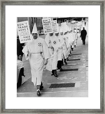 Ku Klux Klansmen Picket Newly Framed Print by Everett