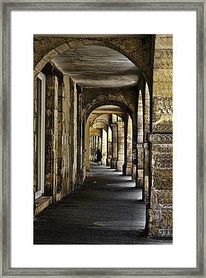 La Rochelle Sidewalk D1161 Framed Print by Wes and Dotty Weber