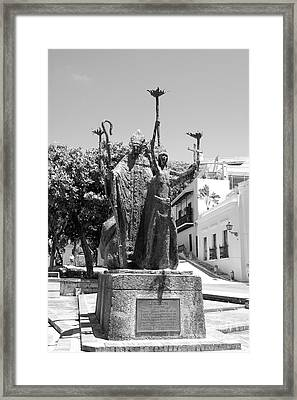 La Rogativa Sculpture Old San Juan Puerto Rico Black And White Framed Print by Shawn O'Brien