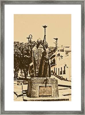 La Rogativa Sculpture Old San Juan Puerto Rico Rustic Framed Print by Shawn O'Brien
