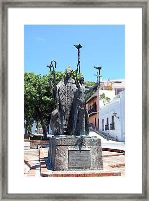 La Rogativa Sculpture Old San Juan Puerto Rico Framed Print by Shawn O'Brien