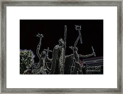La Rogativa Statue Old San Juan Puerto Rico Glowing Edges Framed Print by Shawn O'Brien