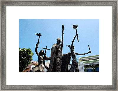 La Rogativa Statue Old San Juan Puerto Rico Ink Outlines Framed Print by Shawn O'Brien