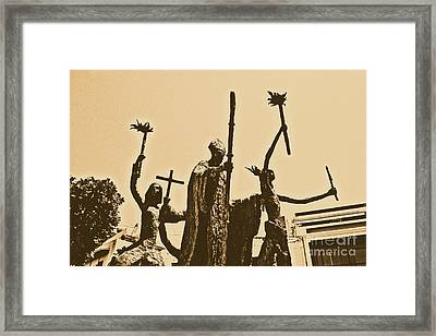La Rogativa Statue Old San Juan Puerto Rico Rustic Framed Print by Shawn O'Brien