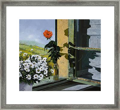 La Rosa Alla Finestra Framed Print by Guido Borelli