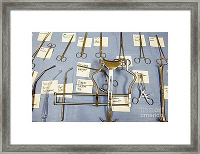 Labeled Surgical Tools Framed Print by Skip Nall