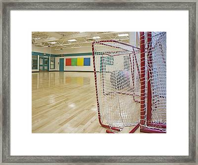 Lacrosse Goals In A Gymnasium Framed Print by Marlene Ford