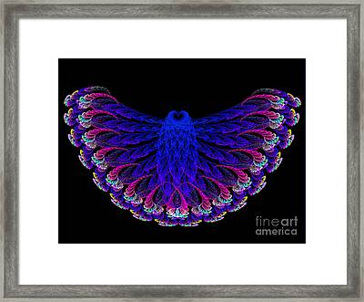 Lacy Jewel Tone Fractal Flying Owl Framed Print by Andee Design