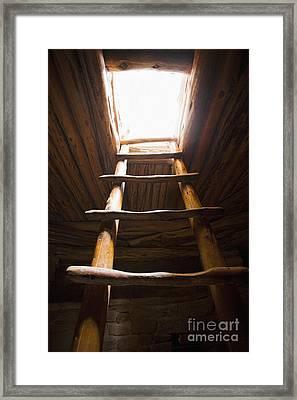 Ladder Of A Native American Cliff Dwelling Framed Print by Bryan Mullennix