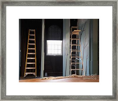 Ladders Offstage In A Theatre Framed Print by Thom Gourley/Flatbread Images, LLC