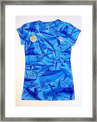 Ladies Gamefish Collage Shirt Framed Print by Carey Chen