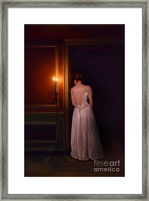 Lady In Candle Light Framed Print by Jill Battaglia