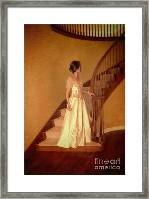 Lady In Lace Gown On Staircase Framed Print by Jill Battaglia