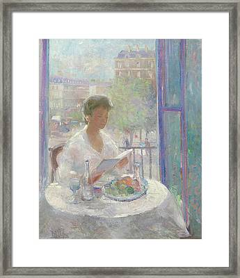 Lady Reading At An Open Window  Framed Print by Clementine Helene Dufau
