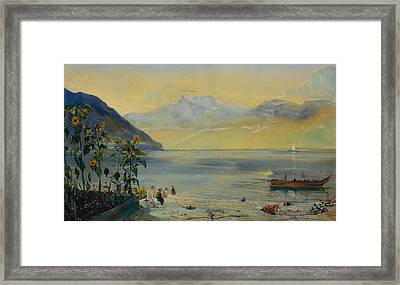 Lake Leman With The Dents Du Midi In The Distance Framed Print by John William Inchbold