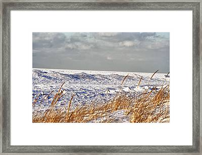 Lake Michigan On Ice Framed Print by Christopher Purcell