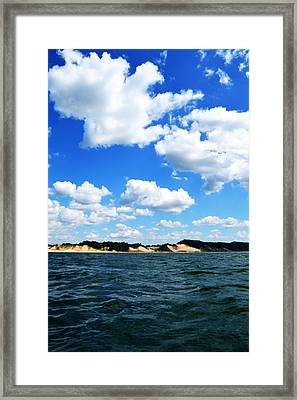 Lake Michigan Shore With Clouds Framed Print by Michelle Calkins
