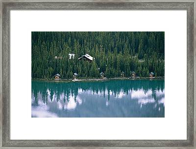 Lake Ohara Lodge And Cabins Framed Print by Michael Melford