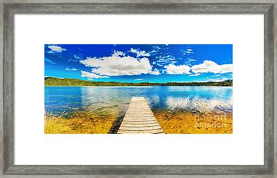 Lake Panorama Framed Print by MotHaiBaPhoto Prints