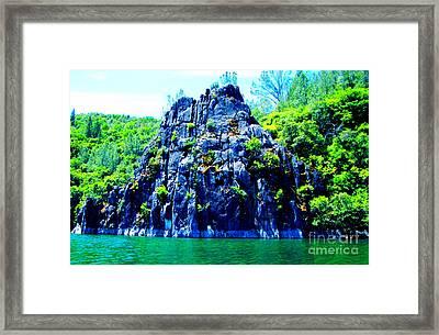 Lake Side Boulder Framed Print by Christina Perry