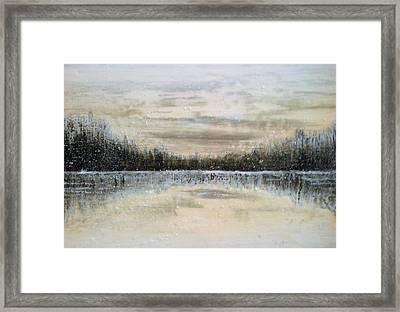 Lake Wylie Snow Framed Print by Jackie Dunford