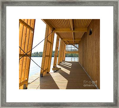 Lakeside Building And Dock Framed Print by Jaak Nilson