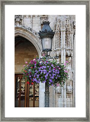 Lamp And Lace At The Grand Place Framed Print by Carol Groenen