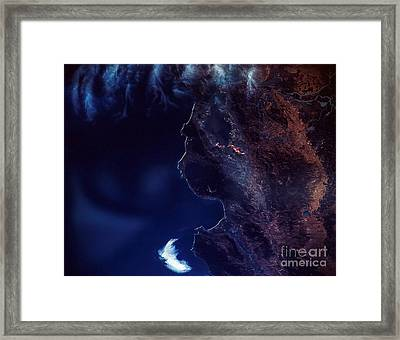 Land And Water From Satellite Framed Print by Stocktrek Images