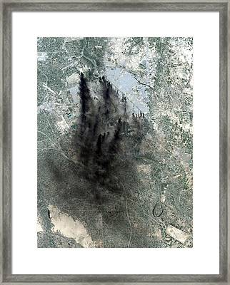 Landsat Image Of Baghdad Showing Dark Framed Print by Everett