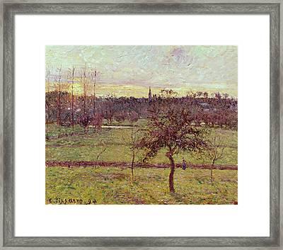 Landscape At Eragny Framed Print by Camille Pissarro
