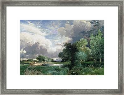 Landscape With A Bridge Framed Print by Thomas Moran