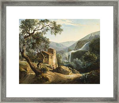 Landscape With A Waterfall Framed Print by Achille Hector Camille Debray