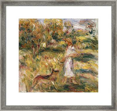 Landscape With A Woman In Blue Framed Print by Pierre Auguste Renoir