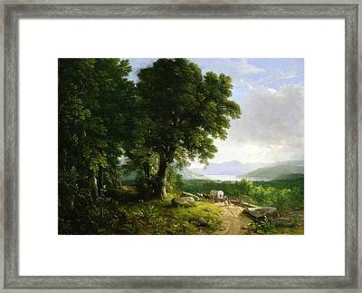 Landscape With Covered Wagon Framed Print by Asher Brown Durand