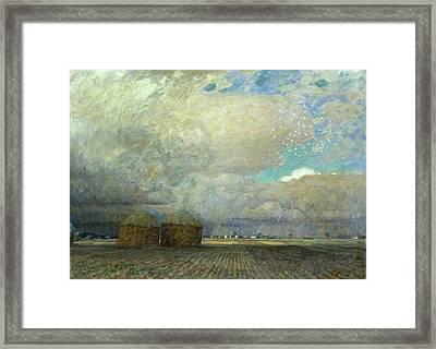 Landscape With Huts Framed Print by Leopold Karl Walter von Kalckreuth
