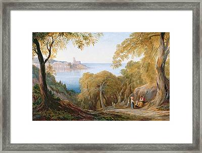 Landscape With View Of Lerici Framed Print by Edward Lear