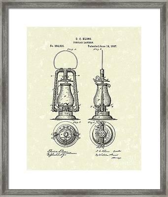 Lantern 1887 Patent Art Framed Print by Prior Art Design