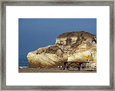 Large Rock And Picnic Area On Beach Framed Print by David Buffington