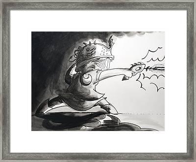 Laser Girl In Space Framed Print by Jaime Torraco
