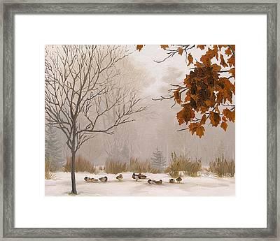 Last Leaves Framed Print by Olena Lopatina