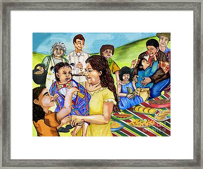 Latino Family Picnic Framed Print by Laura Brightwood