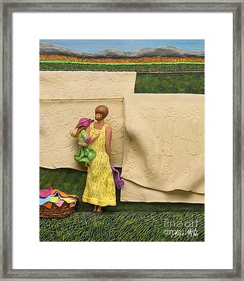 Laundry - Crop Of Original - To See Complete Artwork Click View All Framed Print by Anne Klar