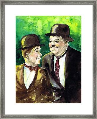 Laurel And Hardy Framed Print by Mel Thompson